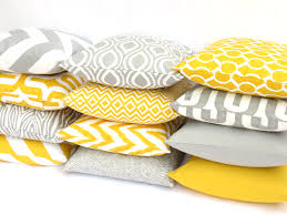 cheap decorative pillows for sofa 11 sizes available one grey or yellow mix and match by pillomatic