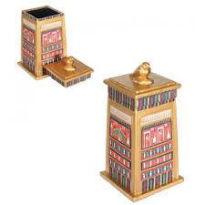 falcon topped egyptian column 7 inch box storage box trinket box