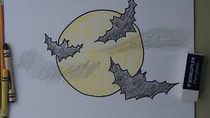 how to draw bats flying across the moon youtube