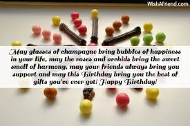 may glasses of champagne bring bubbles birthday card message