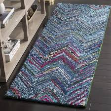 Chevron Runner Rug Safavieh Handmade Nantucket Abstract Chevron Blue Multi Cotton