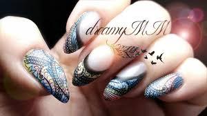 nail polish u0026 eyeshadow mehndi stamping nail art youtube