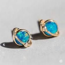 opal earrings stud yellow gold doublet opals earrings ebay