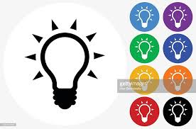 Flat Light Bulb Light Bulb Icon On Flat Color Circle Buttons Vector Art Getty Images