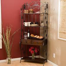 Metal Bakers Rack With Wine Storage Furnitures Furnitures Corner Bakers Rack With Wine Storage