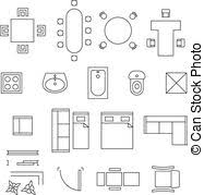 floor plan icons vector collection of outline house plans