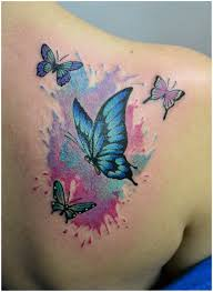 watercolor butterfly color tattoos
