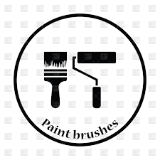 thin circle design icon of construction paint brushes vector