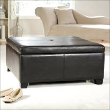Leather Storage Ottoman Elegant Round Brown Leather Storage Ottoman For House Design