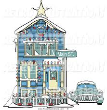 Christmas Decorated Houses House Covered In Snow Clipart 24