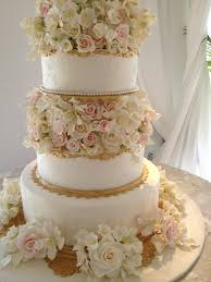 sheet wedding cake with beautiful gold leaf flowers 50x70cm