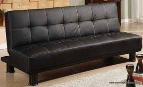 Klik Klak Sofas 1500 Pu Leather Black Color Klik Klak Sofa Bed With White