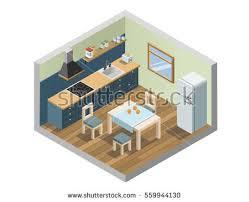 vector isometric set living room bedroom stock vector 567760981