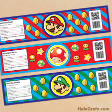 printable super mario bros water bottle labels