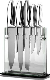 farberware 15 piece stamped stainless steel knife block set stainless steel knife block kitchen knife set 12 piece block stainless steel with acrylic stand by utopia
