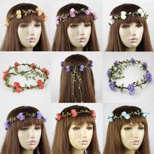 bohemian hair accessories wedding hair jewelry foam flower bohemian green garlands crown