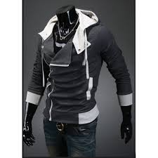 amazon com partiss men u0027s oblique zipper hoodie m darkgray clothing