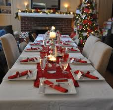 beautiful christmas party table setting on adorable rectangular
