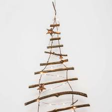 Branch Christmas Tree With Lights - decorative wooden branch hanging christmas tree wall light ladder