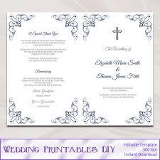 catholic wedding booklet catholic wedding program template diy navy blue order of ceremony
