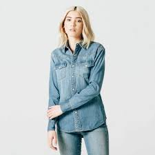 light blue button down shirt women s womens snap denim button down shirt in light vintage 75 dstld