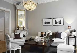 chic swedish living room with gray walls accented with crown