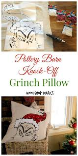 Check Out My 80 Pottery Diy Grinch Pillow A Pottery Barn Knock Off Grinch Pottery And Barn