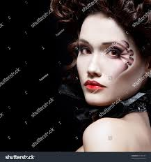 beautiful halloween background portrait beautiful halloween woman vampire baroque stock photo