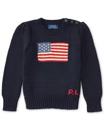 ralph american flag knit cotton sweater 4 6x