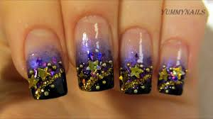 new year 2013 gold purple and black gradient stardust design nail