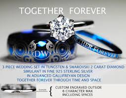 doctor who wedding ring doctor who inspired his 8mm tungsten and hers 2 carat