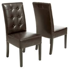 Beige Leather Dining Chairs Jace Button Tufted Leather Dining Chair Brown Set Of 2