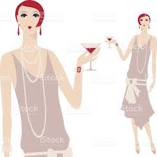 martini woman illustration of 1920s flapper style woman holding a martini stock