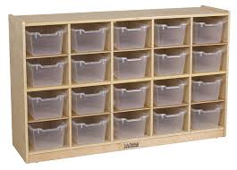 amazon com ecr4kids birch 20 cubby tray cabinet with scoop front