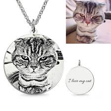 photo engraved necklace personalized pet photo engraved necklace sterling silver