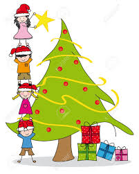 christmas tree decorating children decorating a christmas tree royalty free cliparts