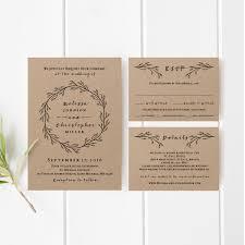 printable wedding invitation template set kraft wedding