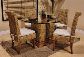 Magnificent Rattan Kitchen Chairs Interior Home Design At Curtain - Round dining table with wicker chairs
