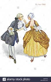 french fashion 1760 upper class couple clothed in sumptuous