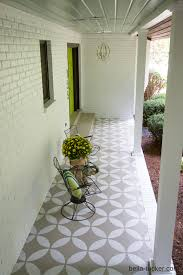Painted Rug Stencils Stenciled And Painted Front Porch Makeover Porch Makeover Front