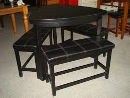 Triangle Dining Table With Bench Dining Room Triangle Black Painted Pine Wood Dining Table With