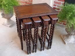 Ebay Sofa Table by Set Antique English Carved Oak Barley Twist Drop Leaf Wine Lamp