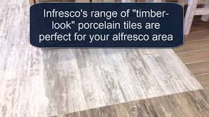 timber look porcelain tile flooring for your outdoor kitchen