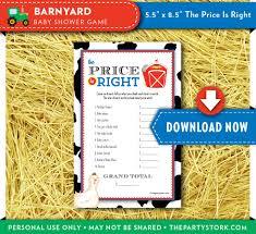 barnyard baby shower game price is right farm animal baby