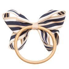 hair elastic ribbons navy blue beige white striped ribbon bow hair elastic
