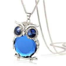 crystal owl necklace images Owl necklace rhinestone crystal jewelry statement silver chain jpg