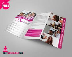 2 fold brochure template free barber shop tri fold psd brochure template