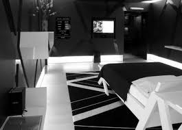 great dark futuristic bedroom interior with office design of