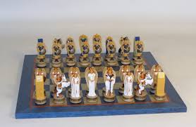 angels themed chess set hand painted wood chess board