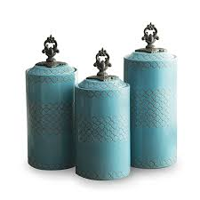 kitchen canister sets amazon com atelier canisters blue set of 3 home kitchen